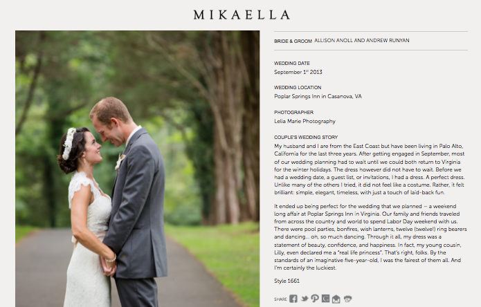 Mikaella Bridal Real Bride Feature