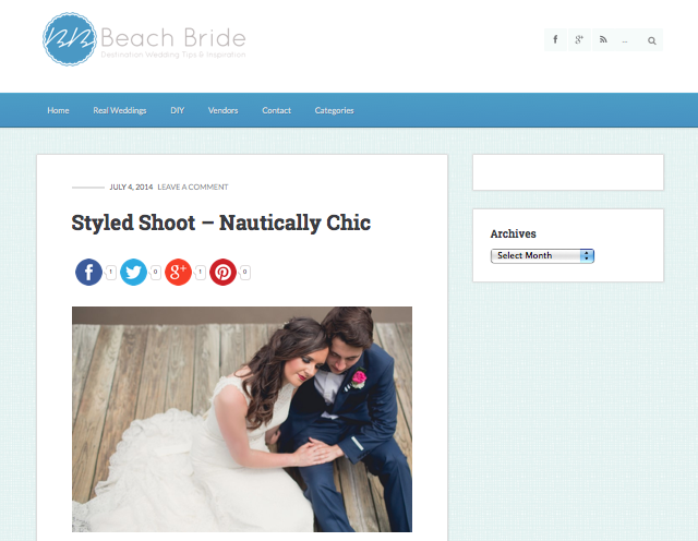 Nautically Chic Wedding featured by Beach Bride
