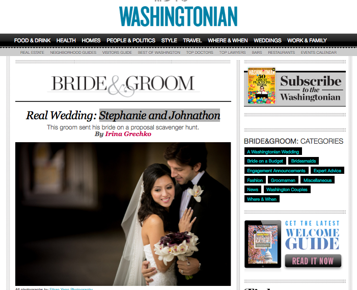Copy of Stephanie & Jonathon America on Washingtonian Bride & Groom