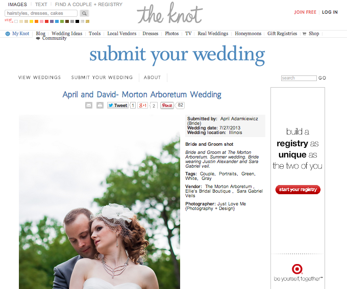 Copy of April + David Arboretum Wedding featured on The Knot