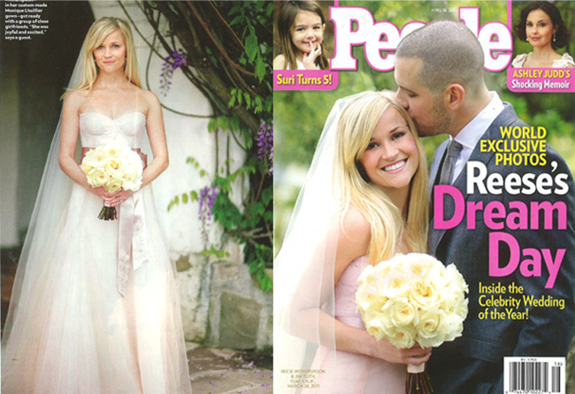 Reese Witherspoon wears custom-designed blush-hued gown by Monique Lhuillier  .