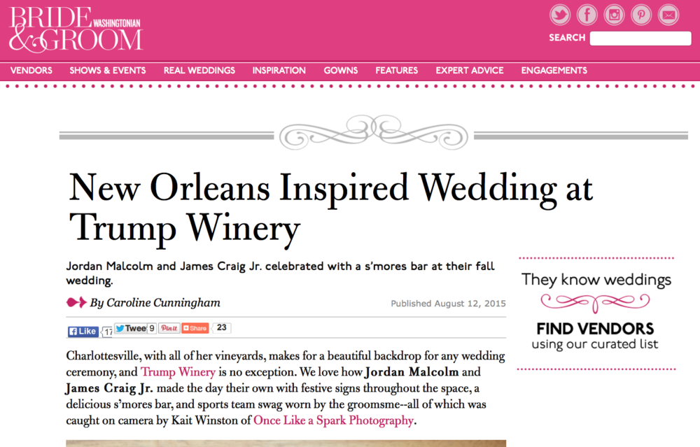 Copy of New Orleans Inspired Wedding at Trump Winery
