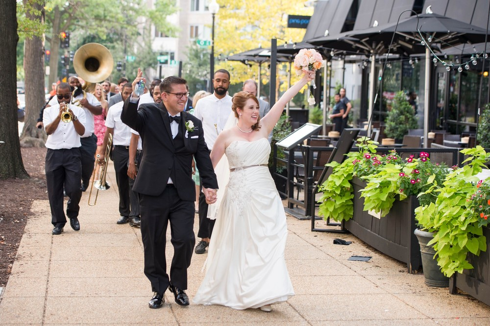 Camille + Alex on August 29, 2015 – Complete with a brass band parade!