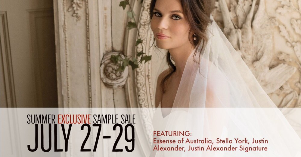 National Bridal Sale Event: Summer Exclusive Sample Sale – July 27-29 at Ellie's Bridal Boutique