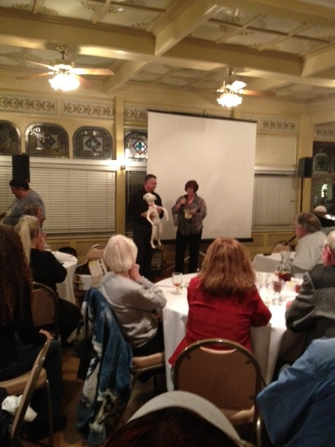 Dr. Couto and Teri Rogo with a thank you from the Solvang Greyhound Gathering