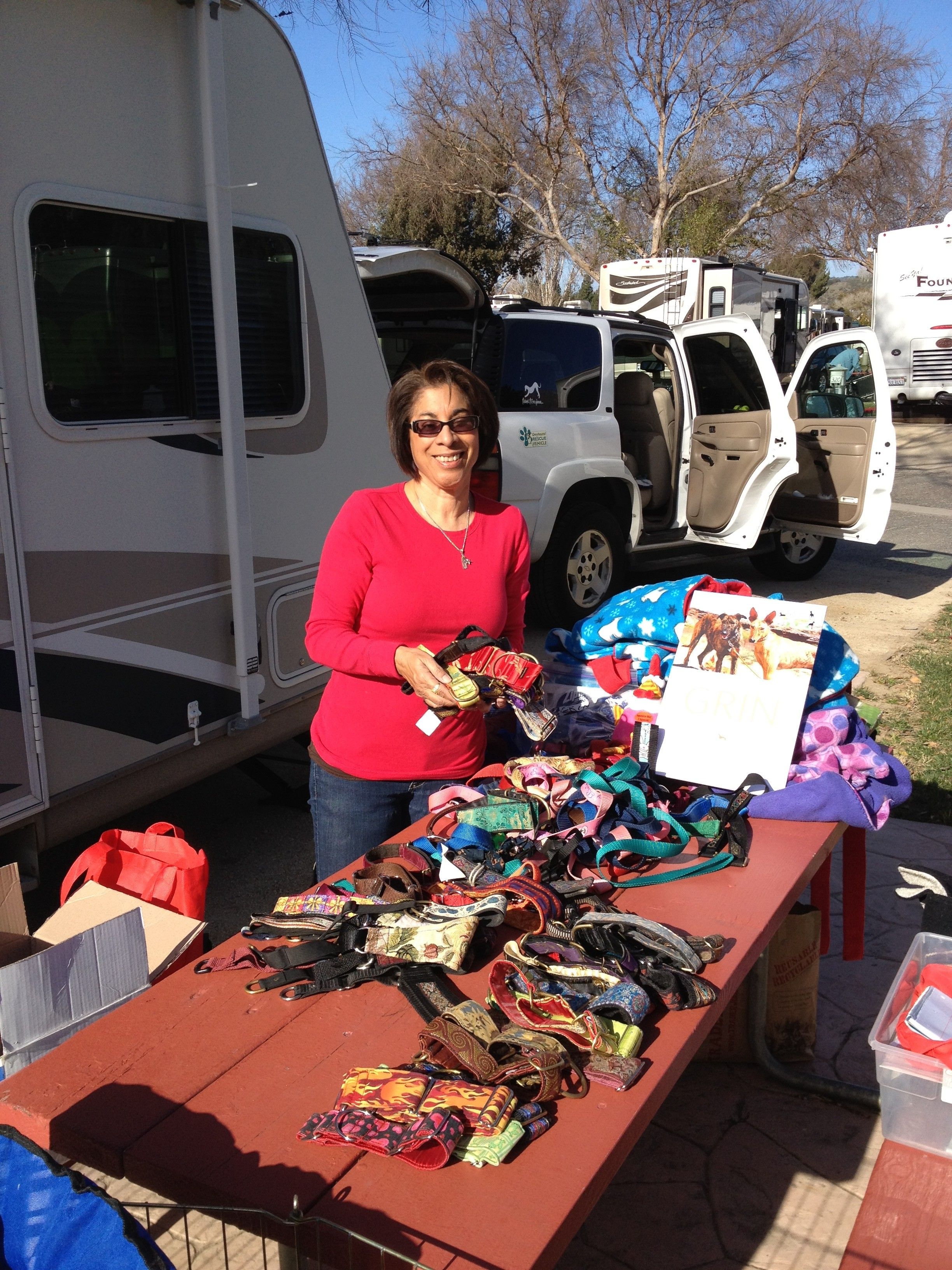 "Part of the ""loot"" our wonderful supporters brought to Solvang for the galgos in Spain!"