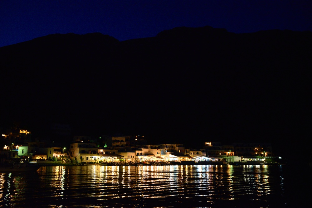 Loutro by night, with the power restored.