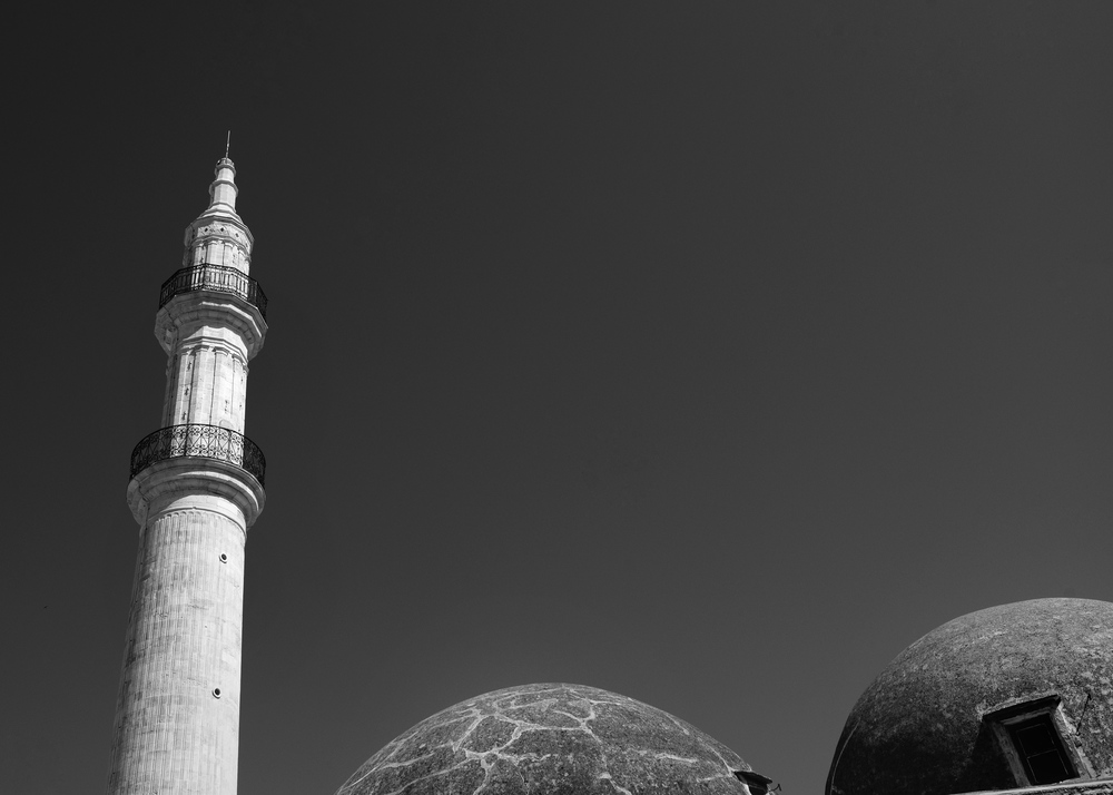 Minaret and two domes from the marketplace view