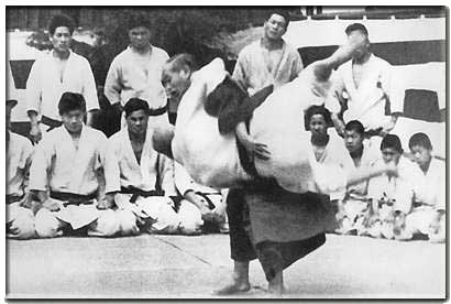 Judo founder Jigoro Kano executes a throw
