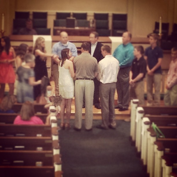 The Bride and Groom practicing for their big day tomorrow. #fordwedding (Taken with  Instagram  at Jamestown United Methodist Church)