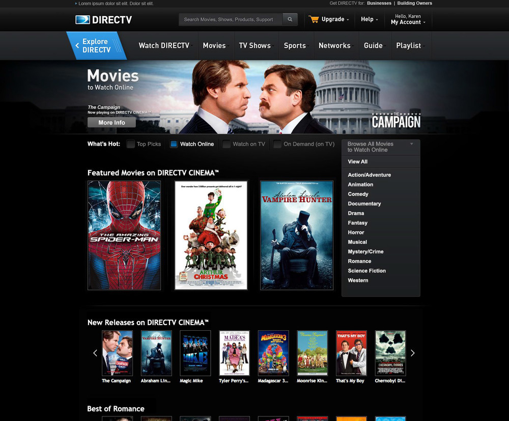 movies to watch online landing page with genre dropdown - Christmas Movies On Directv