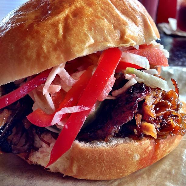 Mojo, ham, bourbon, pickles, mustard, gruyere, pulled pork