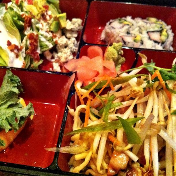 Teriyaki Chicken, Baby Wedge Salad, California Rolls