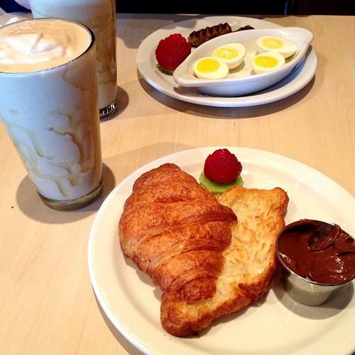 Croissant, nutella, banana, peanut butter + honey protein shake