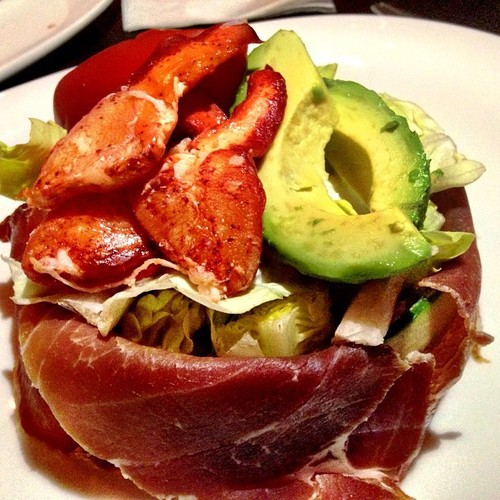 Salad, Lobster, Avocado, Prociutto, Boston Lettuce, Tomatoes, Bacon Blu Cheese, Cucumbers