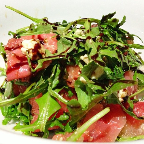 Watermelon, Arugula, Basil and Gorgonzola Cheese