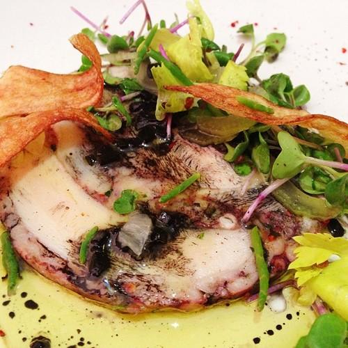 Squid Ink Vinaigrette and Potato Croccanti