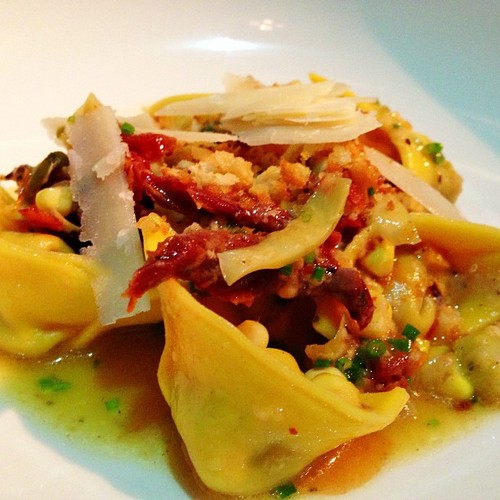 Wagyu beef tortellini, grilled artichokes, sundried tomatoes,   Caper berries, bone marrow, and pan grattatio