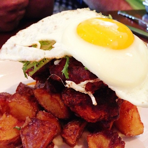 Nashville hot chicken. dill potatoes, white bread purée, and fried egg