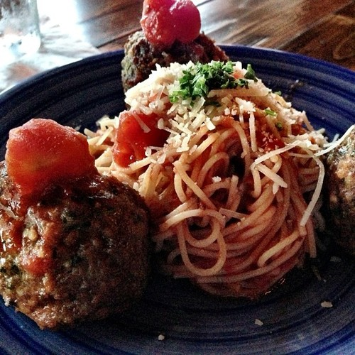 Roman Meatballs - with a nest of angel hair pasta marinara @ Santiago's Bodega.