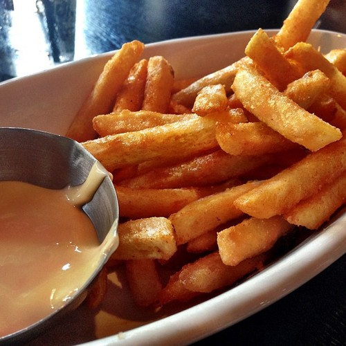Barbie Fries With cheddar cheese sauce