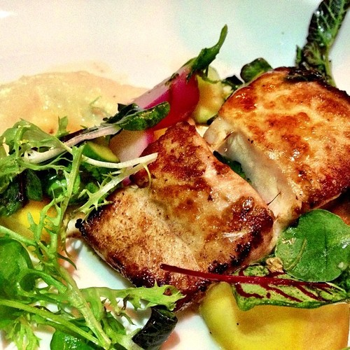 CAST IRON COBIA. Anson Mills polenta, seasonal organic vegetables