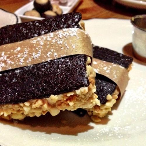 Olive & sinclair dark chocolate, vanilla sorghum, cherry cheesecake