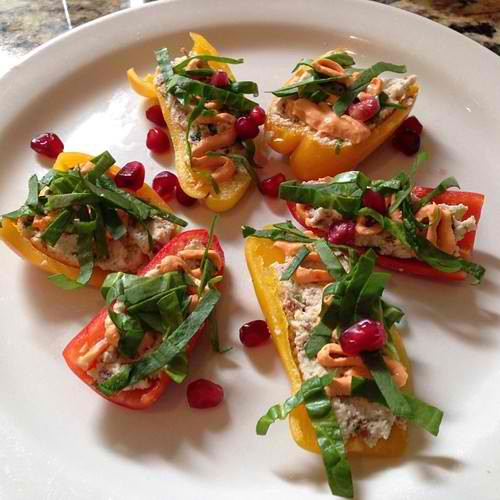 Sweet peppers, almond cheese, truffle oil, red pepper cream