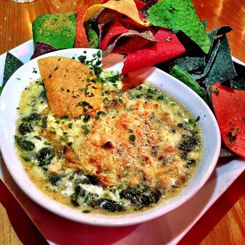 Spinach and bacon dip with fresh mozzarella