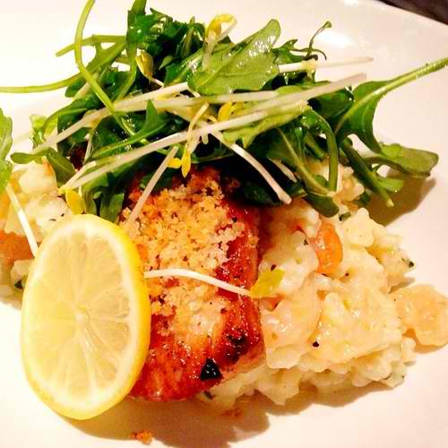 Herb Crusted Snapper: Shrimp Risotto, Lemon Butter