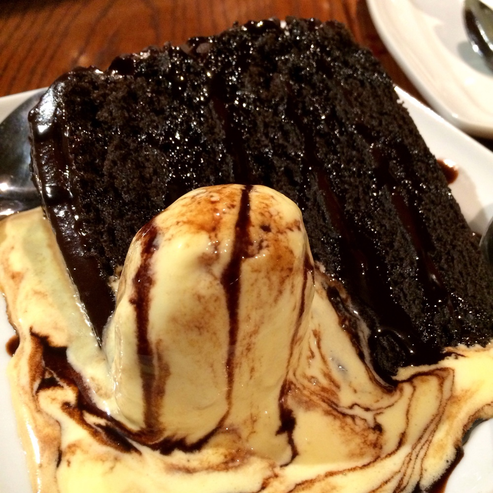 Chocolate Wave. Warm, rich chocolate cake with vanilla ice cream and chocolate sauce