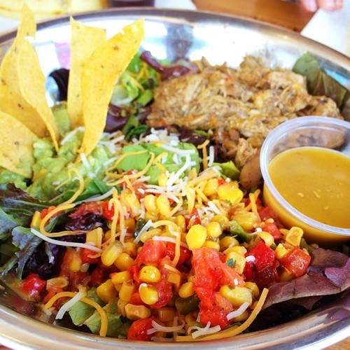 Mixed greens topped with braised chicken, guacamole, corn salsa and corn tortilla chips. Served with agave vinaigrette