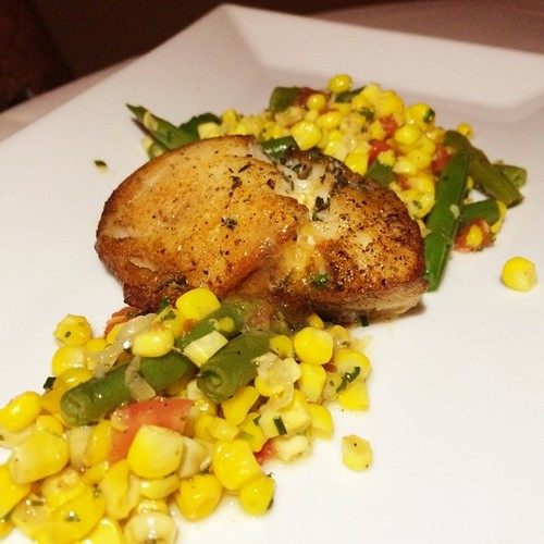 Fish, succotash of green corn, summer beans, tomato, garden lemon – thyme butter