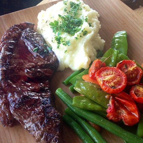Picanha (top sirlon) with mashed potatoes and mixed roasted vegetables