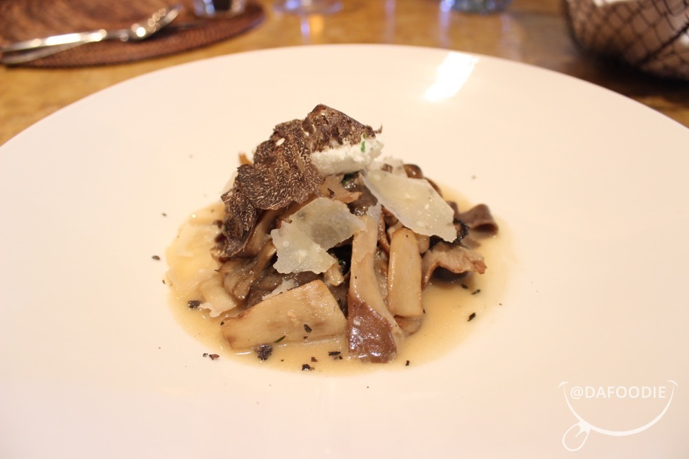 House Made Porcini Tagliatelle & Wild Mushrooms.  Mushroom brodo, braised greens, mascarpone al tartufo, parmesano reggiano.