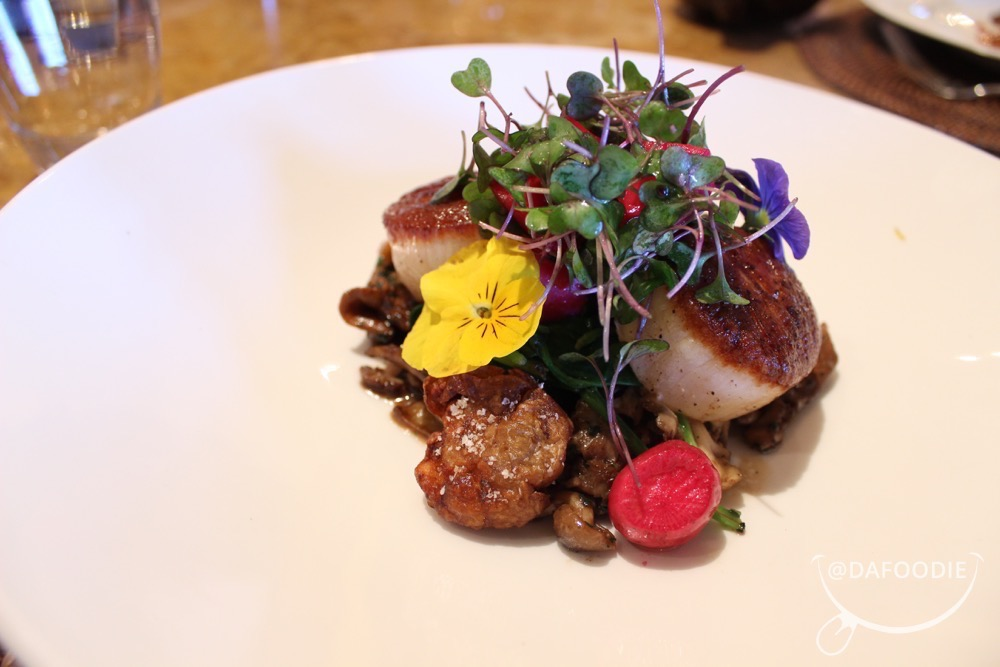Citrus Glazed Sea Scallops.  Crispy Sunchokes, Wild Mushroom & Black Garlic Carbonara, Truffles, Pickled Vegetables.