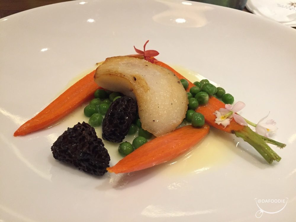 Grouper cheeks - heirloom carrots, spring peas, morel mushroom.