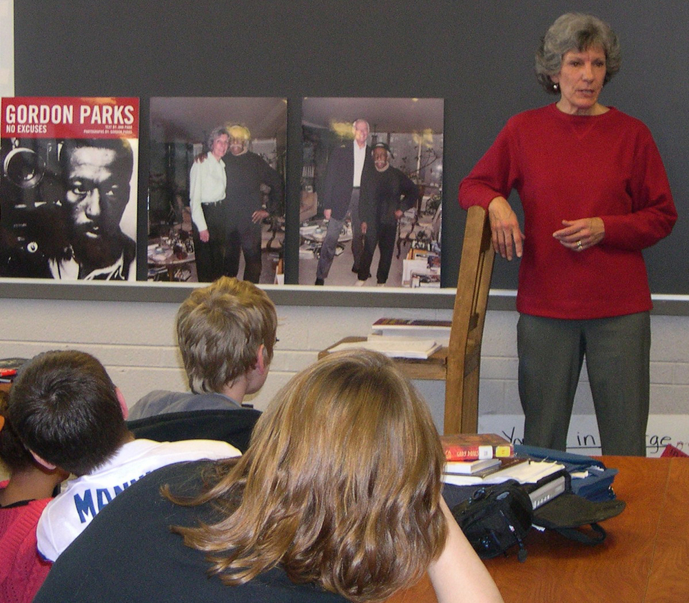 Author Ann Parr talks to middle school students about Gordon Parks   .  She tells them about visiting with Gordon in his New York City apartment .