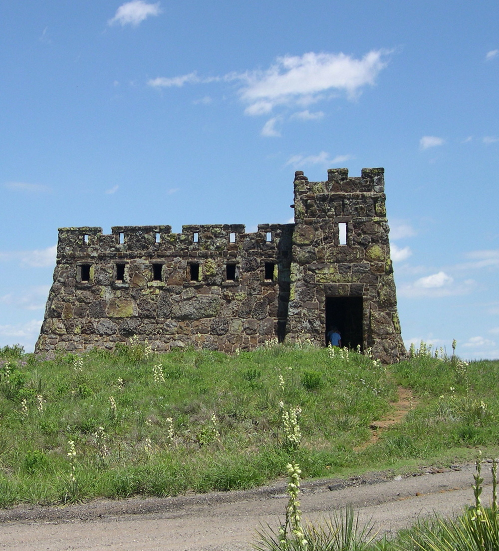 "Coronado Heights in McPherson County, Kansas,  where Coronado's ""helmet tumbled right here."""