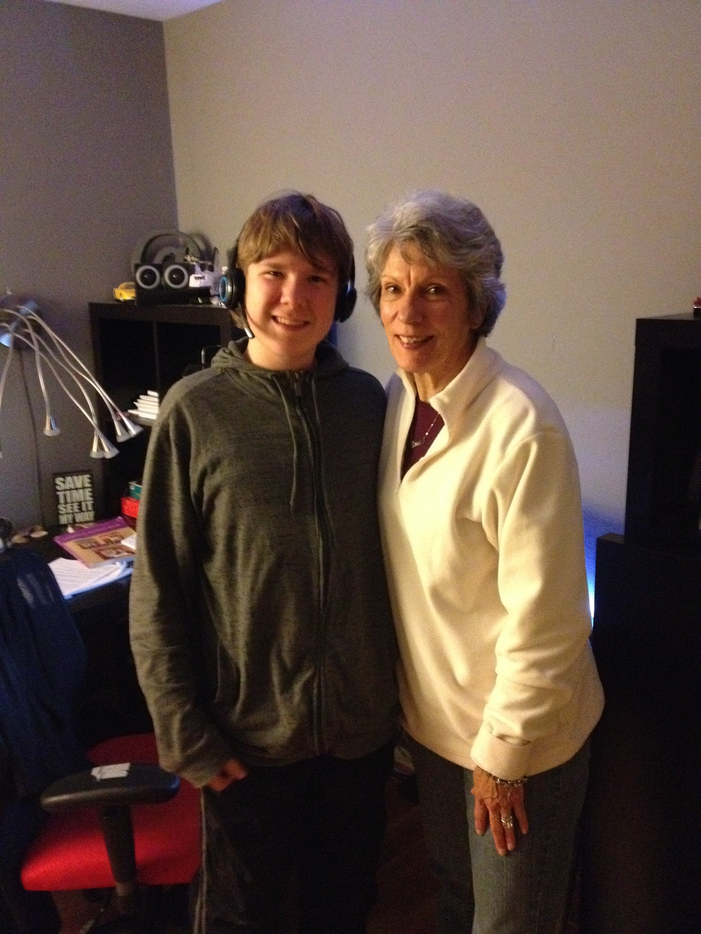 Grandson Grey, as tall as Nanann.