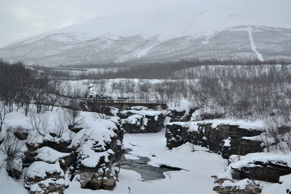 A view of the Abisko River in Abisko National Park.