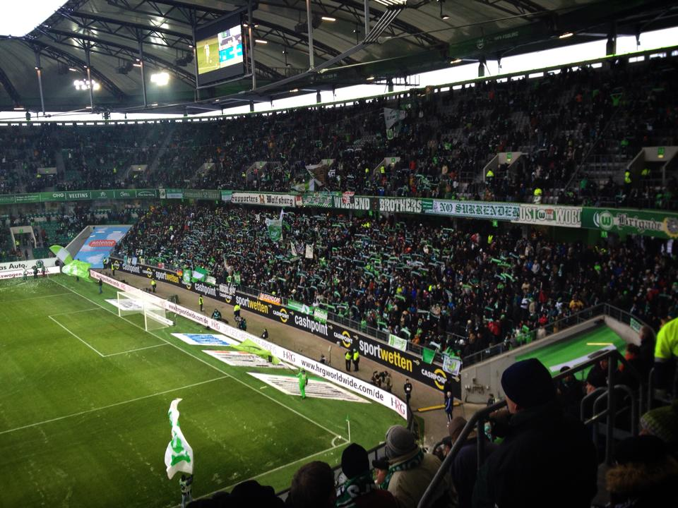 The Supporters of VfL Wolfsburg. Notice all of the Supporters signs.