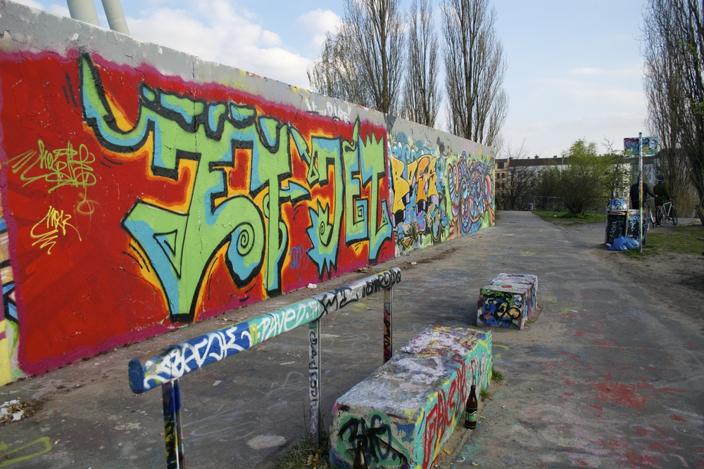 Typical Berlin graffiti at the Mauerpark.