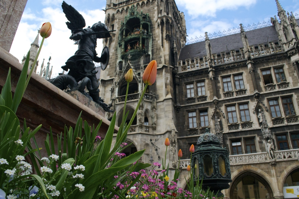 Flowers in front of Munich's Rathaus.