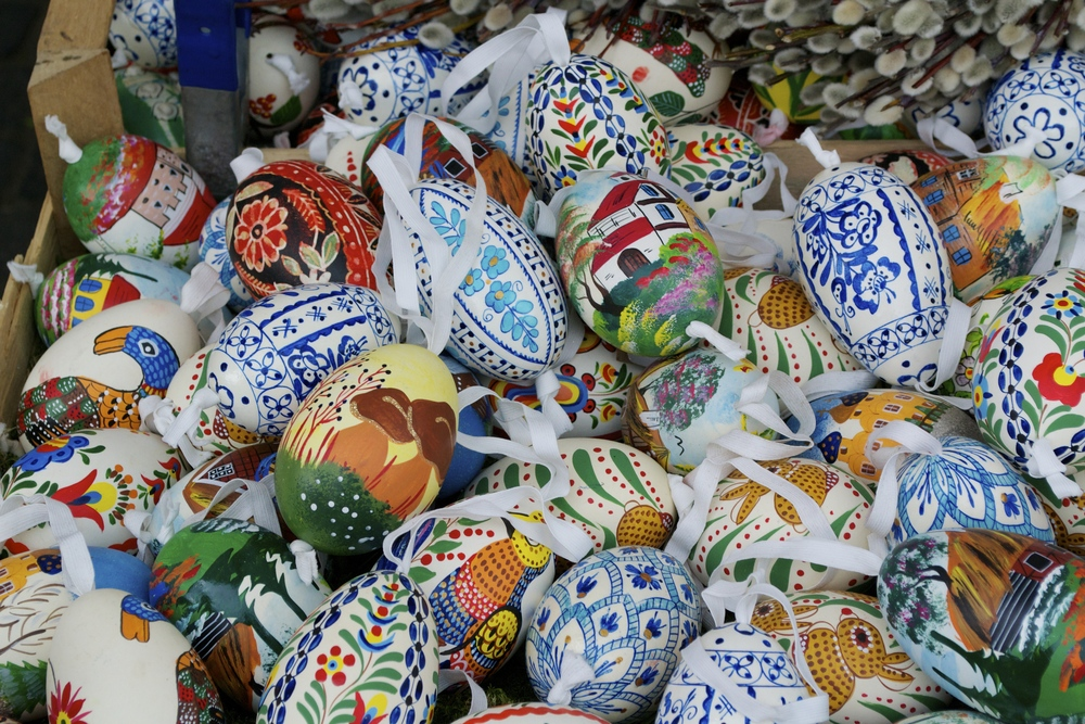 Decorated eggs at the Viktualienmarkt.