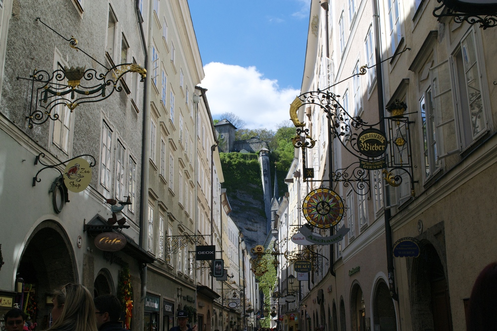 A typical shopping street in Salzburg.