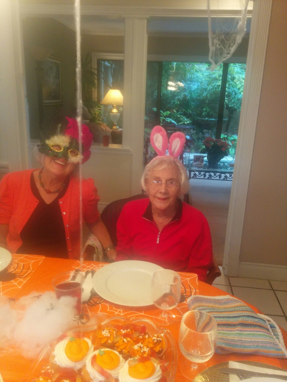 Nicky, dressed as a bunny, with her daughter Donna.
