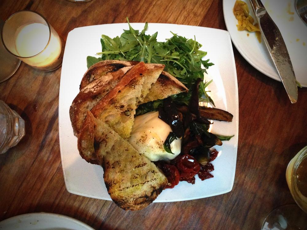 burrata, grilled bread, arugula, grilled eggplant, sundried tomatoes