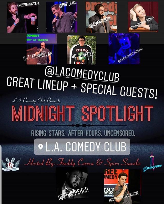 VEGAS TONIGHT AT MIDNIGHT!  #Repost @lacomedyclub (@get_repost) ・・・ #VegasComedy TONIGHT!!! Our first edition of Midnight Spotlight presented by @lacomedyclub! Come check out some of the hottest talent in Vegas and some special guests hosted by @spirointhatshow and yours truly me @fredreker. . . It's free to attend and there's a $20 ALL YOU CAN DRINK SPECIAL! Hope to see y'all tonight! @lvstratosphere