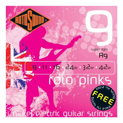 Rotosound pinks and yellows adorn our guitars. An extra 1st string free in each pack - genius!